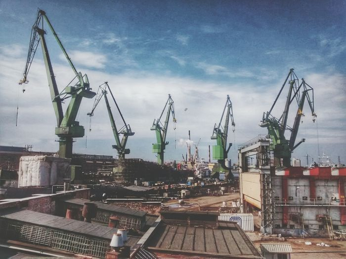 Cranes Shipyard Stocznia Gdansk Shipyard Hanging Out Taking Photos Summer Enjoying Life Urban Industrial Industry Urban Poetry Hidden Gems  Roof Urban Landscape
