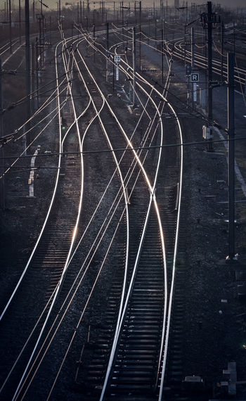 Lines Curve High Angle View Night No People Outdoors Public Transportation Rail Transportation Railroad Track Railway Signal Sunset Transportation