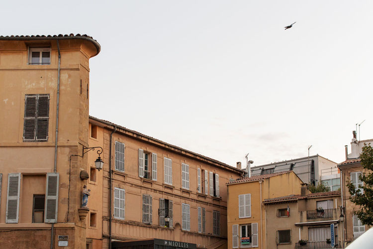 High section of buildings at the Old city, Aix-en-Provence Architecture Building Exterior Built Structure City City Life Clear Sky Copy Space Day Exterior Flying High Section Low Angle View No People Old City Outdoors Residential District Sky Window