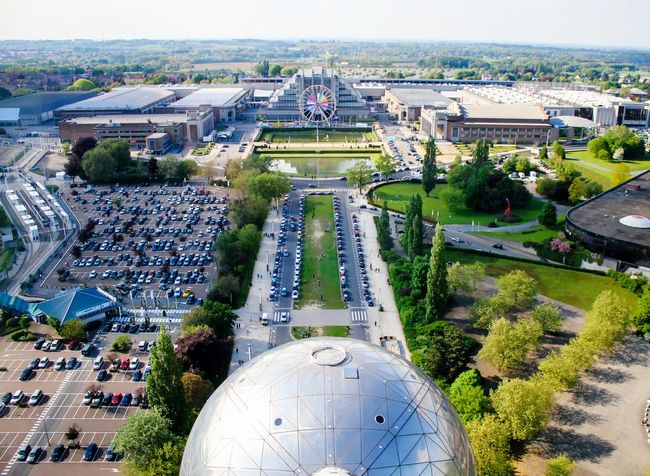Aerial View High Angle View Cityscape City Outdoors Architecture Modern Day Atomiumbruxelles Atomium Brussels  Atomium Brussels Belgium Brussels Travel Destinations Belgium Tourism Travelling Vacations Travel Built Structure Sky Architecture