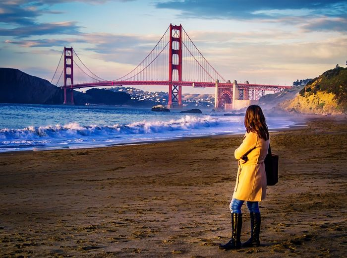Enjoying Life Beach Golden Gate Bridge Baker Beach San Francisco Waves, Ocean, Nature People Bridges California Bridge, Architecture, San Francisco