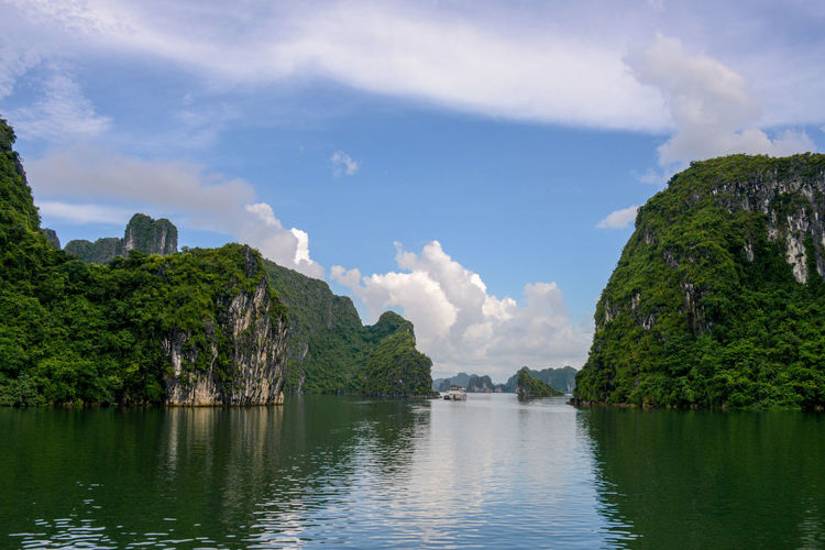 Halong Bay Vietnam Halong Bay Vietnam Halong Bay  Halongbay Vietnam Beauty In Nature Cloud - Sky Day Idyllic Mountain Nature No People Outdoors Rock - Object Scenics Sky Tranquil Scene Tranquility Vietnam Travel Vietnam Trip Vietnamphotography Vietnamtravel Water Waterfront