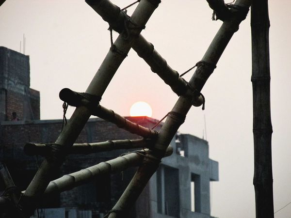 the sun is rising Day No People Outdoors Architecture Building Exterior Close-up Metal Industry