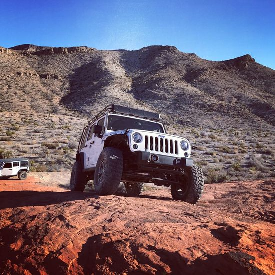 Blue Clear Sky Land Vehicle Transportation Mode Of Transport Sky Day Outdoors No People Nature Arid Climate 97mf3r Jeepforlife Jeep Life YouWouldntUnderstand Bfg  Canyon Remote Redrock Extreme Terrain Rock Formation Wrangler 4wd Jeepjk Jeep