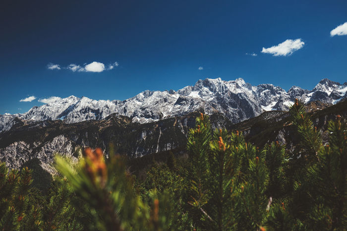 Bavaria Travel Zugspitze Beauty In Nature Blue Cloud - Sky Day Farchant Garmisch-partenkirchen Germanroamers Landscape Momentkeepers Mountain Mountain Peak Mountain Range Nature No People Outdoors Scenics Sky Snow Snowcapped Mountain Tranquil Scene Tranquility Tree
