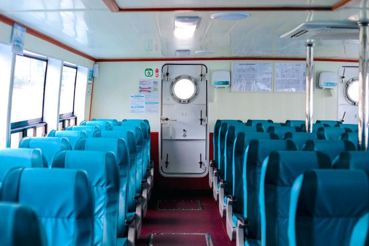 Empty seats in vessel