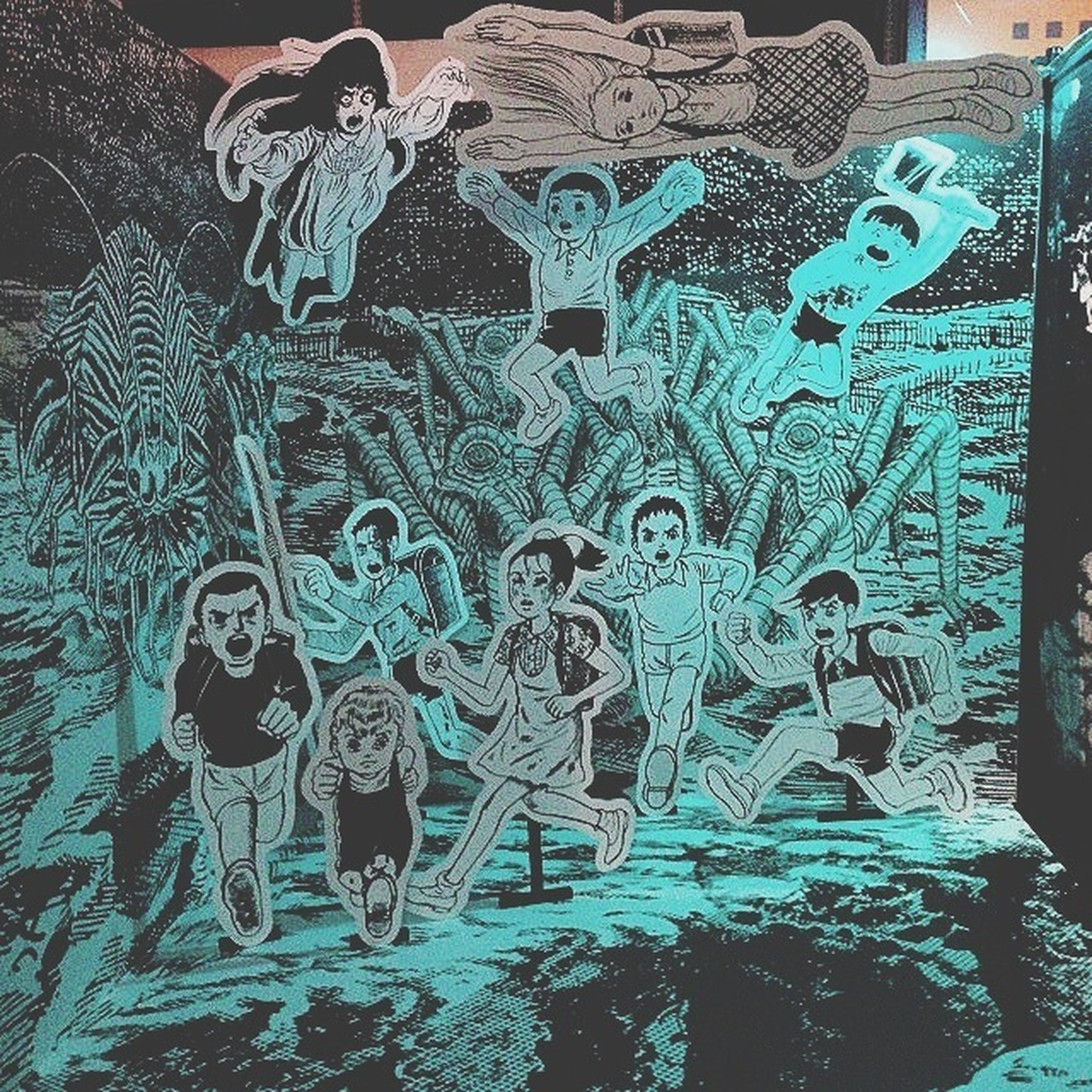 art, art and craft, creativity, human representation, statue, sculpture, built structure, architecture, graffiti, pattern, craft, design, animal representation, wall - building feature, blue, day, indoors