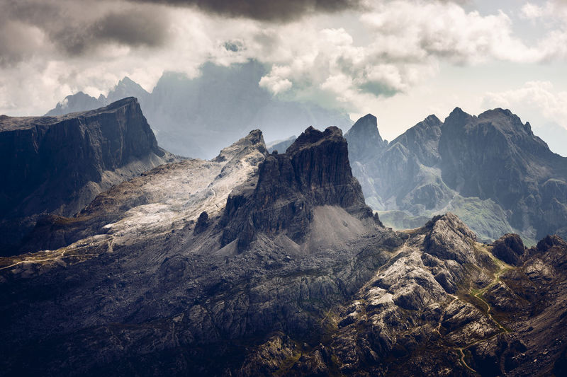 Averau peak at nuvolau mountain range, dolomites unesco