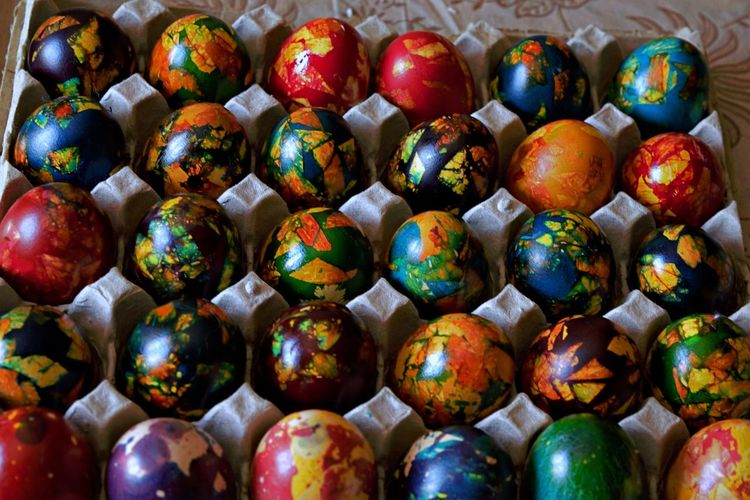 Tradition Celebration Colored Eggs Easter Easter Egg Large Group Of Objects Multi Colored Paint Shiny