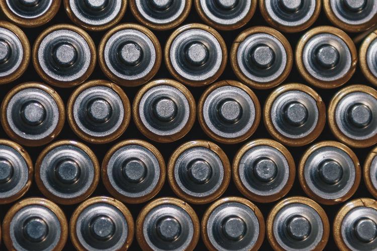 Full frame shot of batteries