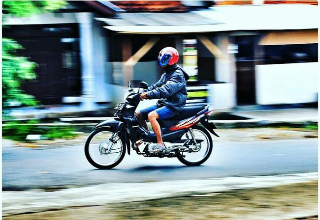 vehicle indonesia Motorcycle Riding Transportation Headwear Motion One Person Blurred Motion