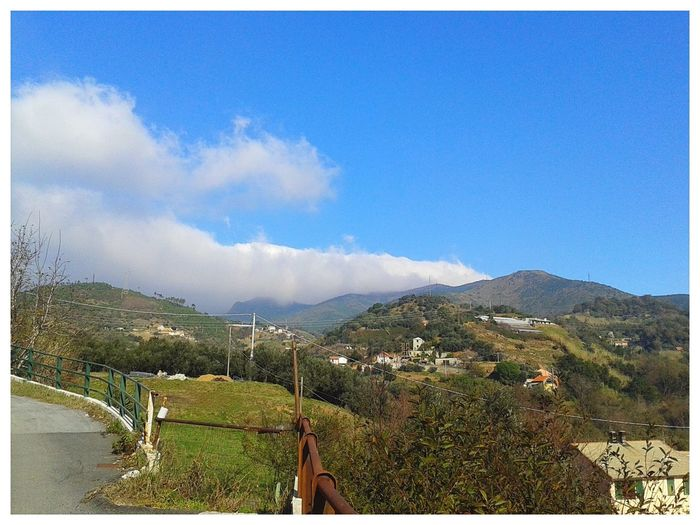 Panorama ligure. Appennino Ligure Sky Hills Mountains And Sky Sunny Landscape Smartphone Photography Mobilephotography S3 Mini Tree Mountain Rural Scene Agriculture Sky Landscape Chainlink Fence Mountain Range Cultivated Land