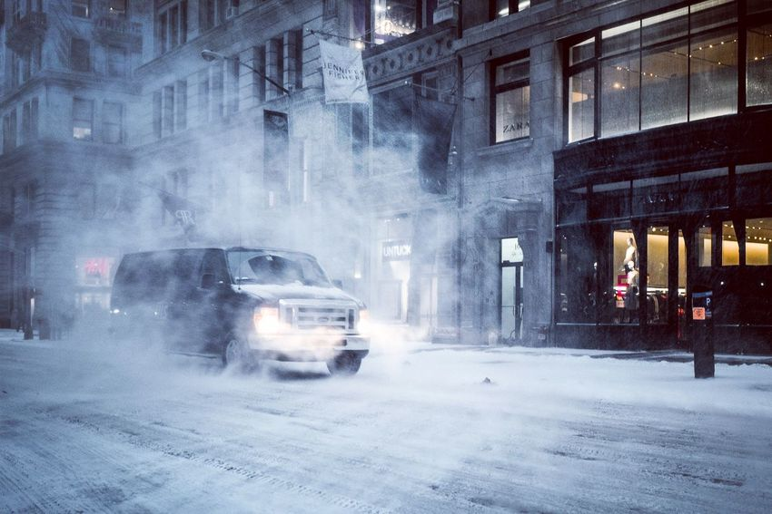 """New York City waking up under the Snowstorm """"Grayson"""" Blizzard Snowstorm Bombcyclone Car Architecture Built Structure Building Exterior Land Vehicle Incidental People Street Weather City Cold Temperature Outdoors Winter Road"""