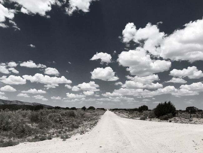 """""""Where Do I Go?"""" I came to a fork, but hesitation was short. The clouds called my name, pulling me forward, like fluffy magnets they drew me, down a dirt road destination, I know not where, yet I follow their call. Fork In The Road Poetry In Pictures Poetry Rural vanishing point Dirt Road New Mexico Photography New Mexico Clouds And Sky Clouds Cloud - Sky Sky Tree Land Landscape Beauty In Nature"""