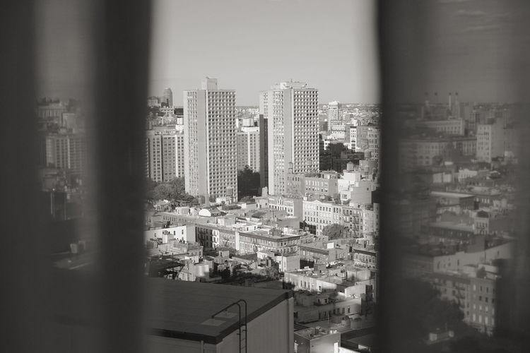 21st Century I Love NYC Landscape Manhattan Monochrome Peeking Street Through The Curtains