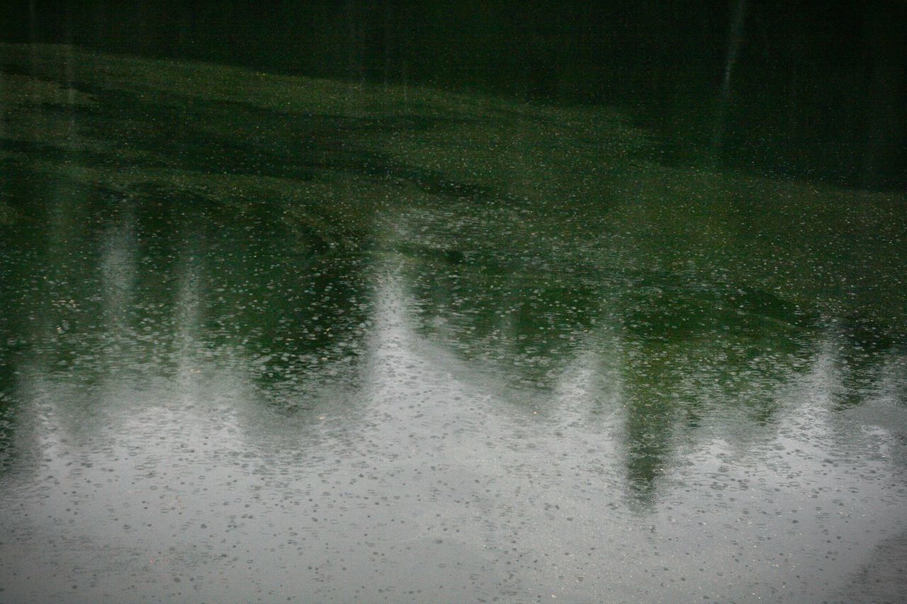 High Angle View Of Raindrops On Water Surface