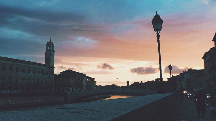 Sunset Travel Destinations Cloud - Sky Sky Architecture Street Light Silhouette City Outdoors Adult People Statue Urban Skyline Adults Only Day Cityscape One Man Only Only Men Pisa Italy