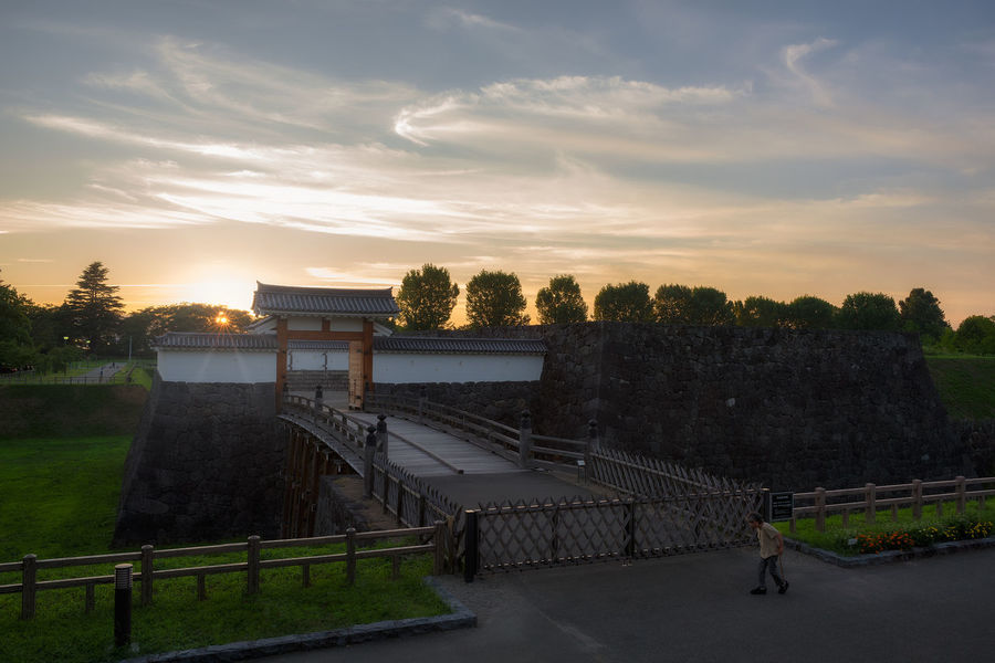 Yamagata Castle and sunset. Castle Japan Tradition YAMAGATA Architecture Beauty In Nature Bridge Cloud - Sky High Angle View History Incidental People Nature Outdoors Sky Sunset The Past