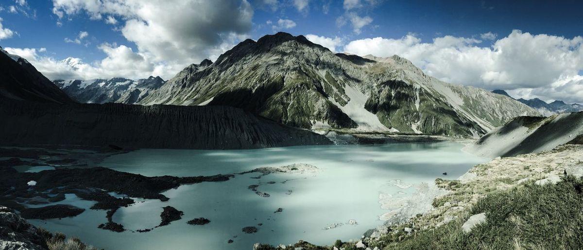 Panoramic view of mountain range in new zealand