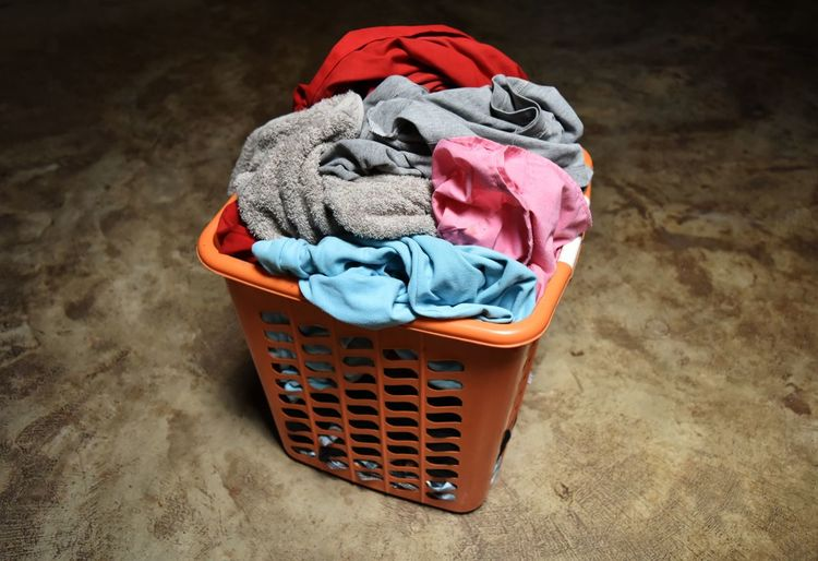 Ground Pile Stack Orange Colorful Color Floor Concrete Cement Retro Vintage Objects Object Laundry Basket Indoors  Cleaning Housework Cloth Day