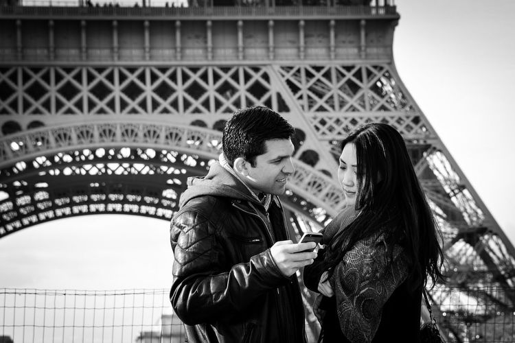 Adults Only Asian World Black & White Couple - Relationship Cultures Eiffel Tower Heterosexual Couple Honeymoon Lifestyles Love Mobile Conversations Mobile Love Paris Taking Pictures Togetherness Tourism Tourist Travel Travel Destinations Two People