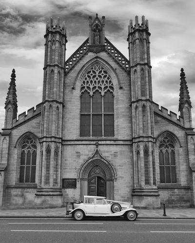 Wedding Arch Architecture Building Exterior Built Structure Cloud - Sky Day Façade History No People Outdoors Place Of Worship Religion Sky Spirituality Travel Destinations Wedding Car White Wedding Car