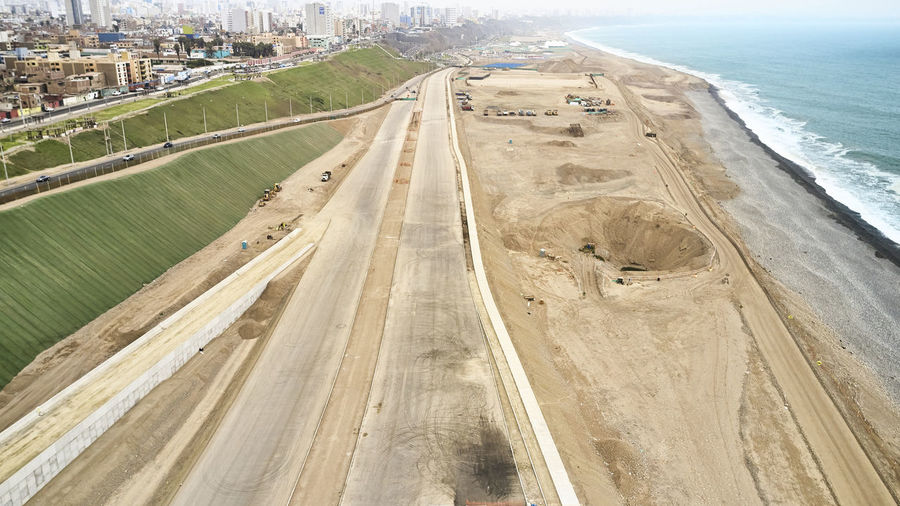 High angle view of road passing through beach