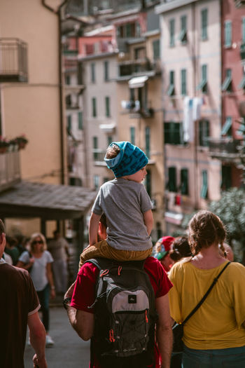 Father And Son Father And Child Fatherhood Moments Piggyback Italy Travel Family Family Time Father Portrait Photography Town TOWNSCAPE City Togetherness Crowd Rear View Two Generation Family Young Family Family With One Child #urbanana: The Urban Playground Summer In The City