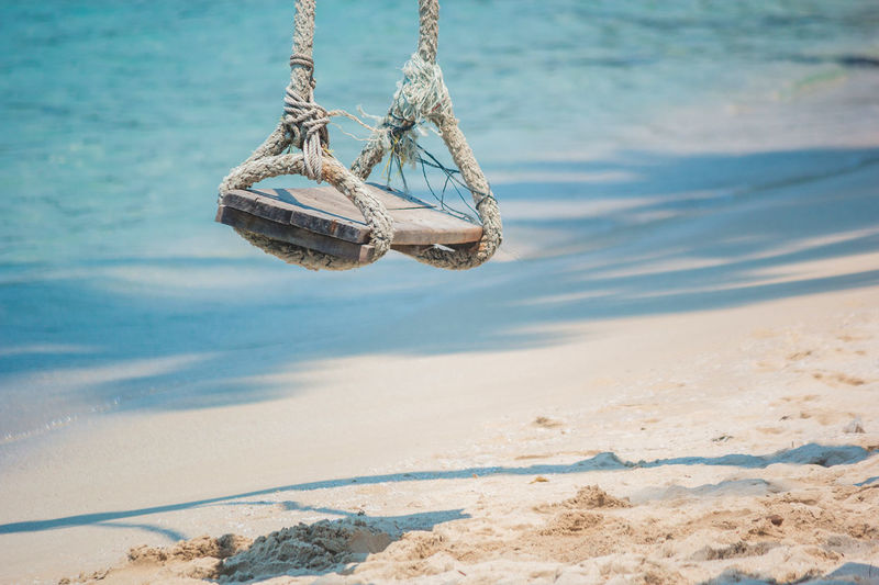 Rope swing hanging at beach