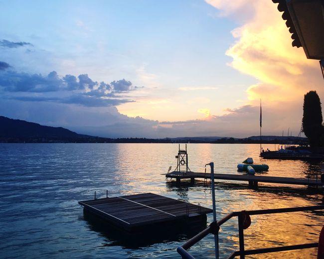 Sunset in the Badi Zollikon - Lake of Zürich. Sky Nature Sunset Beauty In Nature Scenics Romantic Water Switzerland Lake Zürich badi