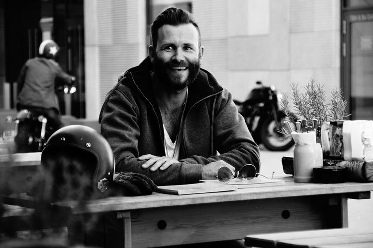 Portrait of man sitting in cafe