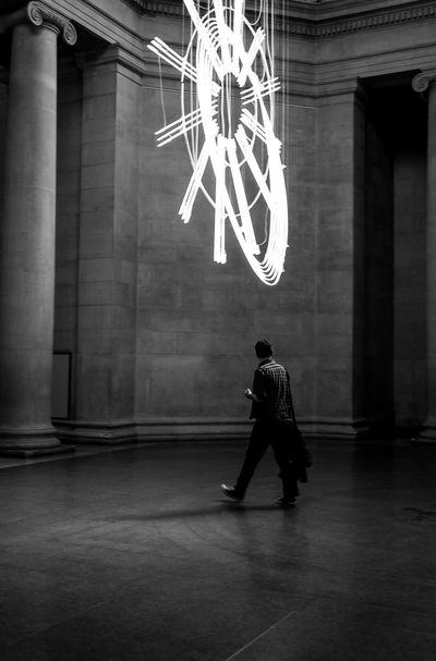 plumes of incandescence Full Length Real People One Person Architecture Built Structure Illuminated Indoors  Lifestyles Leisure Activity Men Young Adult Day Adult People London Tate Indoors  TateBritain Architecture Blackandwhite