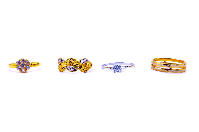 various type of rings over white background Accessories Bangle Bracelet Clothing Expensive Fashion Glamour Gold Golden Jewelry Karat Luxury Money Neck Pearls Precious Ring Status Quo Value White Background Women