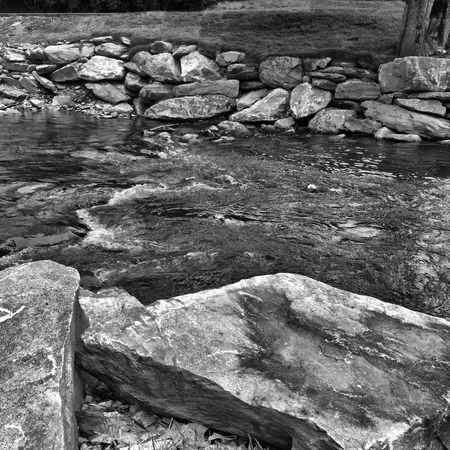 River Rocks Water Movement B&w Nature