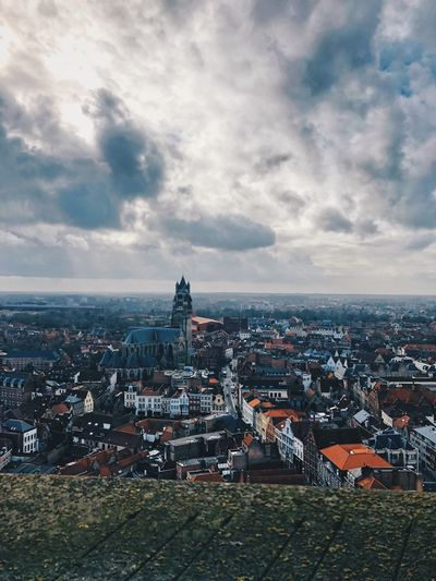 In Bruges View Point Gray Blue Small Town Church Cloud - Sky City View  Brugge Belgium Brugge, Belgium View Europe Building Exterior Architecture City Sky Built Structure Cloud - Sky Cityscape Building Nature Day Travel Destinations Outdoors High Angle View