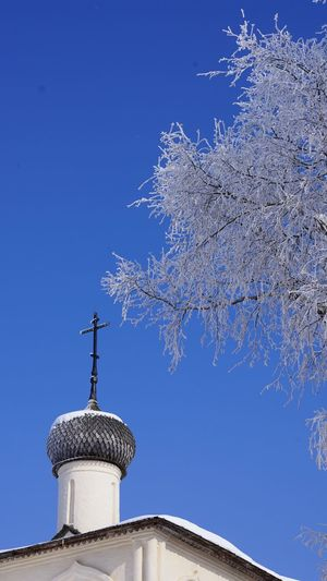 Orthodoxy cross Cross Architecture Sky Low Angle View Nature Clear Sky No People Religion