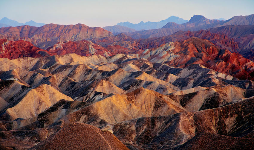 Gansu Zhangye Danxia Geopark in China Beauty In Nature Danxia Landform Day Geology Landscape Mountain Mountain Range Nature No People Outdoors Physical Geography Rock - Object Scenics Sky Tranquility Travel Destinations Zhangye