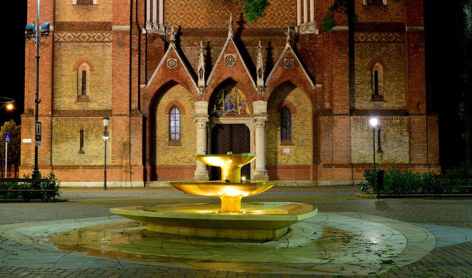 Architecture Built Structure Church City City Lights Fountain Night Nikon Nikon D3300 Nikonphotography Cities At Night Szent István Tér Békéscsaba Békésmegye Hungary