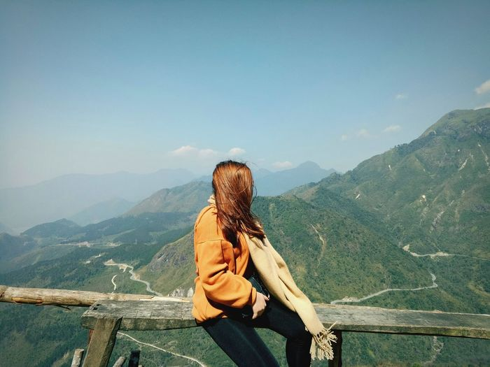 EyeEm Selects Mountain Sitting Women Relaxation Tree Sky Landscape Mountain Range First Eyeem Photo