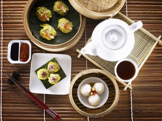 Breakfast Siew Mai Snack Tea Bamboo Basket Bowl Chopsticks Dim Sum Directly Above Drink Fish Ball Food Food And Drink Freshness Healthy Eating High Angle View No People Plate Restaurant Steamer Table Tea Pot Tea Time Tim Sum Top View