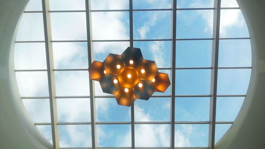 Urban Urban Geometry Indoors  Window Day Freshness Fresh Beograd Belgrade Sky Sky And Couds White Clouds And Blue Sky Lamp Light Hanging Relaxing Colors Geometric Shapes Likeforlike Like4like