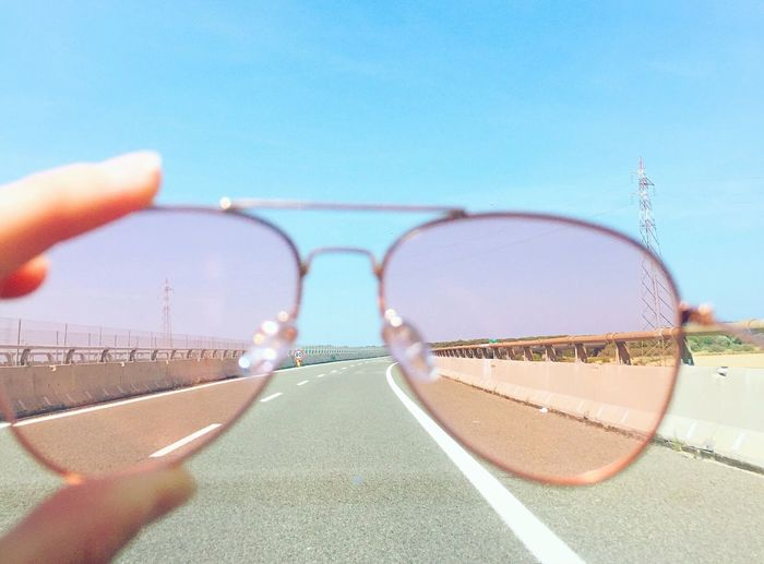 Pink sunglasses trip road Sunglasses Clear Sky Sunlight Sky Glasses Pink Optimistic Happiness Road Way Car Arm Happy Light Accessory Accesories Fashion Rose Lights Rose Light Inspirational Human Body Part Breathing Space An Eye For Travel