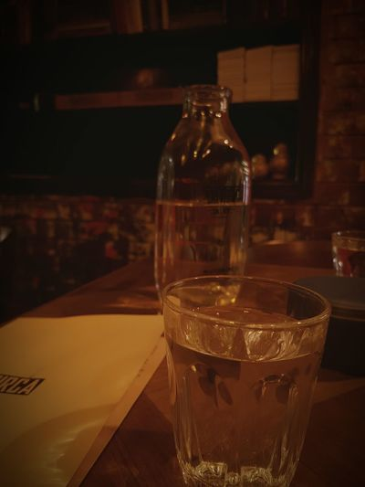 Cafe Table For One Old Style Glass Of Water