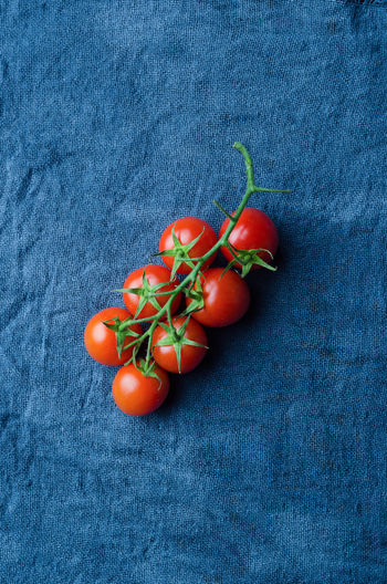Cherry tomatoes over blue cloth Cherry Tomatoes Food Food And Drink Freshness Fruit Healthy Eating Red Still Life Textile Tomato Tomatoes Vegetable