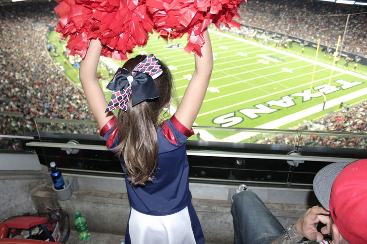 Houston Texans game at NRG Stadium. Cheer Life Football Game Day Gametime Houston NFL Football Texans Arms Raised Audience Celebration Cheering Crowd Day Fan - Enthusiast Girl Kid Nrg Stadium Outdoors People Real People Spectator Sport Stadium Teamwork Young Adult