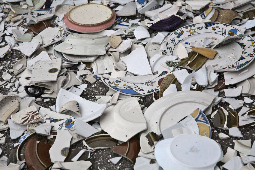Bildfolge Day Destruction Happıness High Angle View Large Group Of Objects No People Photography Polterabend Porcelain  Rituals Shards Shards Bring Happiness Shattered Symbolic  Wedding Rituals Wedding Shower