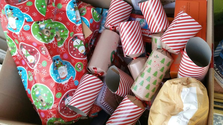 Multi colored christmas presents in box