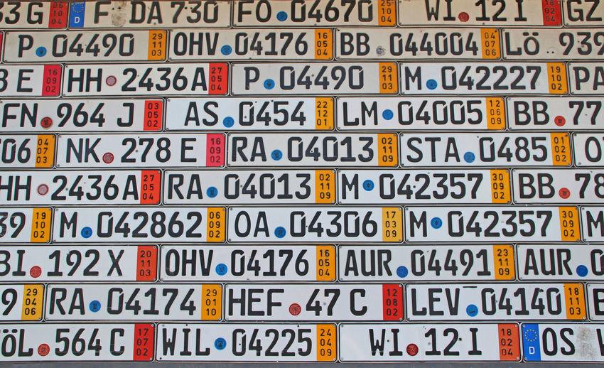 Car Registration - pin wall Pin Wall Registration Office Abundance Art Backgrounds Car Close-up Design Detail Full Frame Kennzeichen Mark No People Pinnwand Registration Repetition Wall Wall - Building Feature Wall Art Wallart