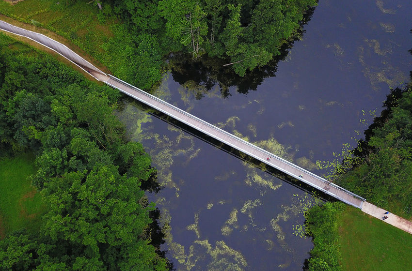Bridges Perspectives On Nature Beauty In Nature Bridge - Man Made Structure Connection Day Green Color Growth High Angle View Industry Lush Foliage Nature No People Outdoors Plant Riverbank Rivers Road Scenics Sky Tranquil Scene Transportation Tree Water