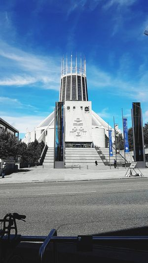 Liverpool Cathedral. Study in blue. Architecture Liverpool Cathedral City Blue Sky Cloud - Sky No People Sky Outdoors Built Structure Travel Destinations Day Snow Winter Cold Temperature Building Exterior